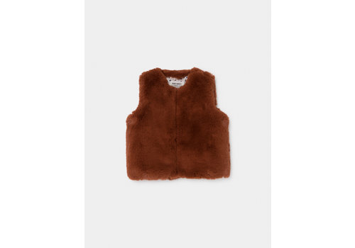 BOBO CHOSES Brown Baby Faux Fur Vest Picante