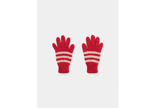 BOBO CHOSES Striped Gloves Flamé Scarlet