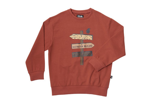 CarlijnQ Destination WL - sweater red w/print on front