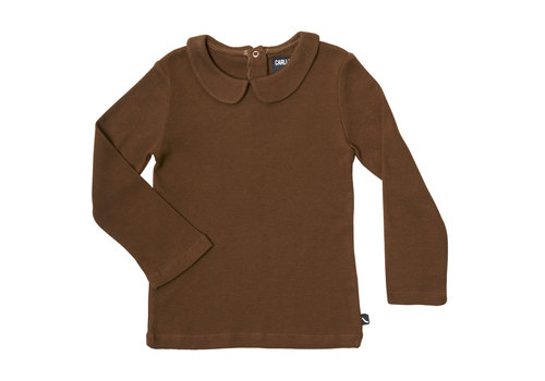 CarlijnQ Basics - longsleeve collar (brown / rib)