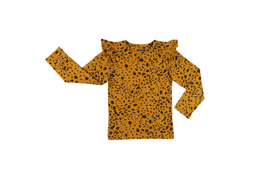 CarlijnQ Spotted animal - longsleeve (ruffled sleeves)
