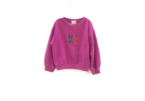 Long Live the Queen rough terry sweater  350 dahlia