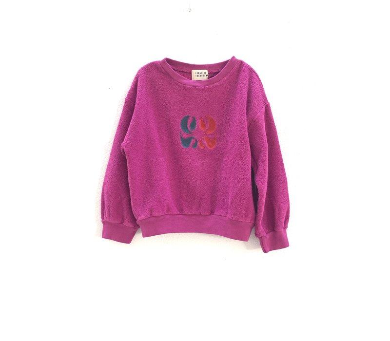 rough terry sweater  350 dahlia