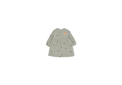 "Tiny Cottons Dots ""Luckyphant"" Dress Grey/Bottle Green"