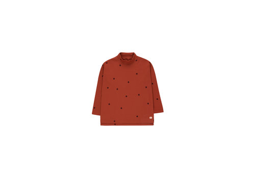 Tiny Cottons Dots Mockneck Tee Dark Brown/Aubergine