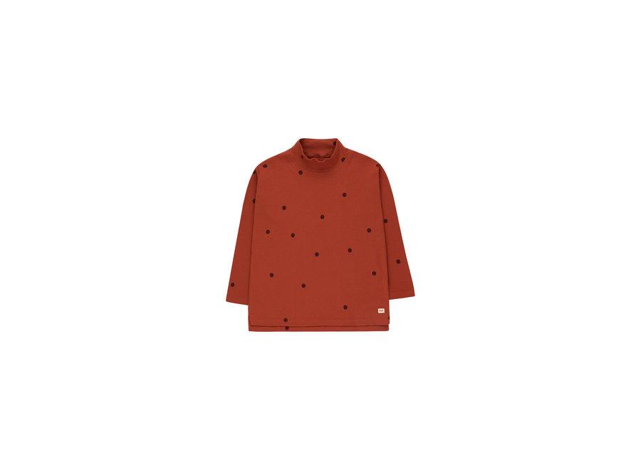 Dots Mockneck Tee Dark Brown/Aubergine