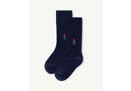 The Animals Observatory Skunk Kids Socks Navy Blue Logo