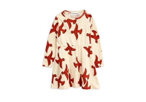 Mini Rodini Flying birds ls dress Offwhite