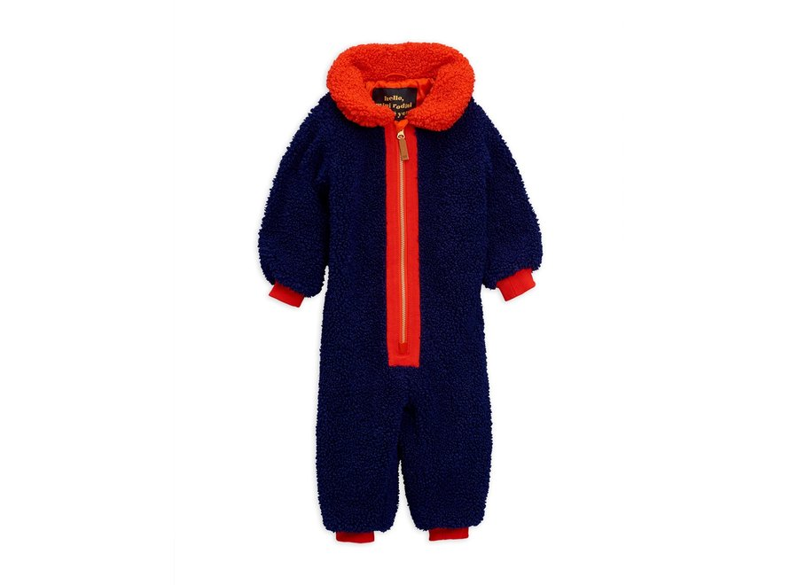 Faux fur baby overall Blue