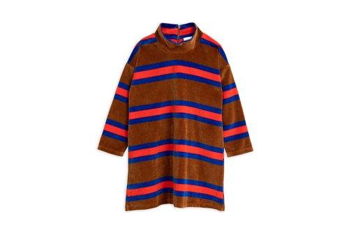 Mini Rodini Velour stripe ls dress Brown