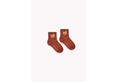 Tiny Cottons Cat Medium Socks Dark Brown/Brown