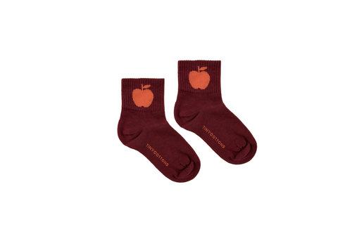 Tiny Cottons Apple Medium Socks Aubergine/Red