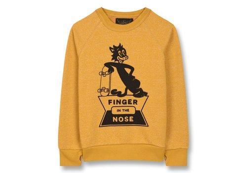 Finger in the nose HANK Heather Mustard Skate Cat - Boy Knitted Crew Neck Sweatshirt