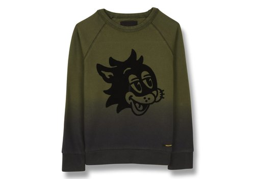 Finger in the nose HANK Khaki Cat Smile - Boy Knitted Crew Neck Sweatshirt