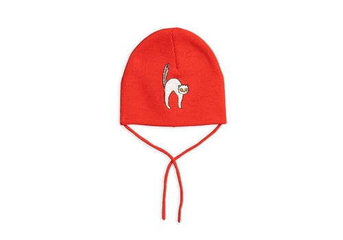 Mini Rodini Angry cat patch hat Red