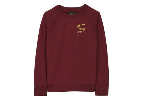 Finger in the nose HANK Burgundy Flags - Boy Knitted Crew Neck Sweatshirt