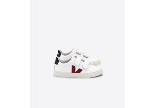Veja SMALL ESPLAR VELCRO LEATHER EXTRA-WHITE MARSALA BLACK