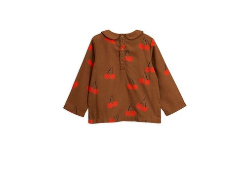 Mini Rodini Cherry woven pleat blouse Brown