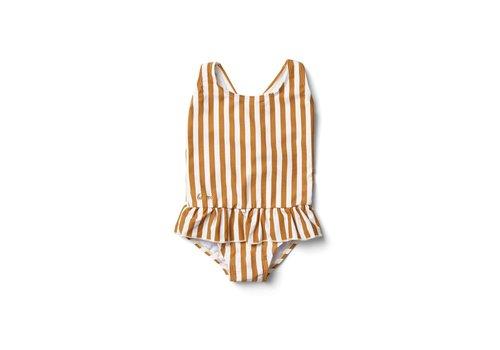 Liewood Amara Swimsuit - Stripe: Mustard/Creme de la creme