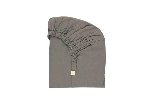 Camomile London F/Sheet 100% Organic Grey COT W60cm x L120cm