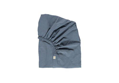 Camomile London F/Sheet Mini Check Blue SINGLE W90cm x L200cm