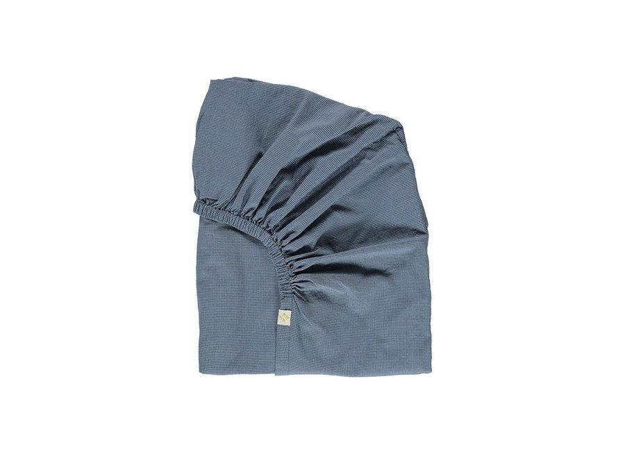 F/Sheet Mini Check Blue SINGLE W90cm x L200cm