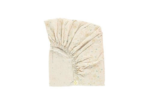 Camomile London F/Sheet Minako Floral Golden SMALL COT W60cm x L120cm