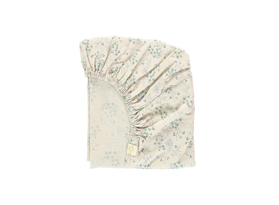 F/Sheet Minako Floral Cornflower SINGLE W90cm x L200cm