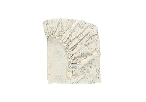 Camomile London F/Sheet Minako Floral Cornflower COT/JUNIOR W70cm x L140cm