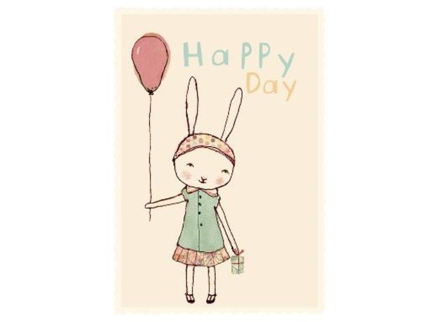 HAPPY DAY, GIRL, SINGLE CARD