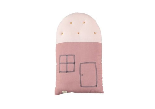Camomile London SMALL HOUSE Cushion Blush/Pearl Pink W24cm x H38cm