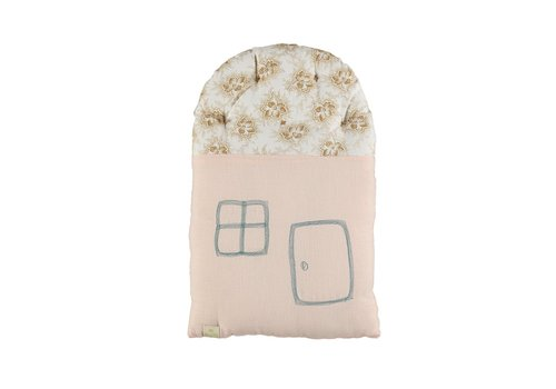 Camomile London SMALL HOUSE cushion Spot Floral Pearl Pink- Ochre roof W24CM x H38cm