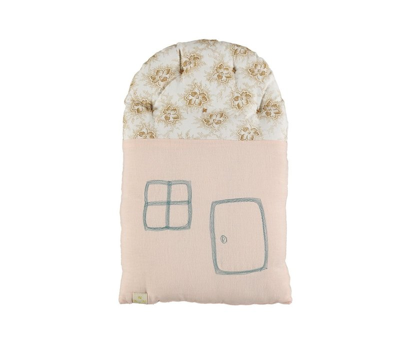 SMALL HOUSE cushion Spot Floral Pearl Pink- Ochre roof W24CM x H38cm