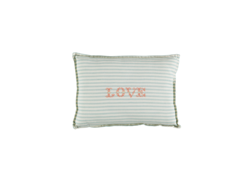 Camomile London P/Cushion Marine Ticking Stripe Love Mink Small Rectangle W22cm x L30cm