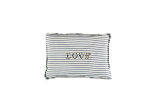 Camomile London P/Cushion Blue Ticking Stripe Love Moss Small Rectangle W22cm x L30cm