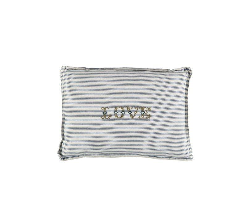 P/Cushion Blue Ticking Stripe Love Moss Small Rectangle W22cm x L30cm