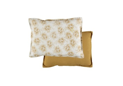 Camomile London P/Cushion Spot Floral Ochre Small Rectangle W22cm x L30cm