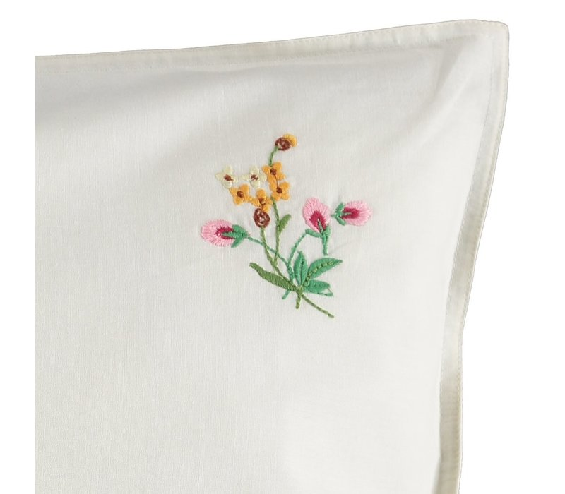 P/Case Pink Flower emb Off White Small W60cm x L40cm