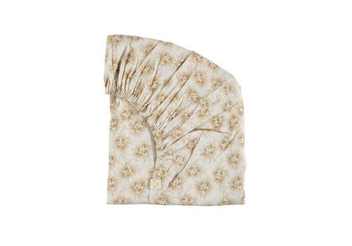 Camomile London F/Sheet Spot Floral Ochre Small Cot W60cm x L120cm