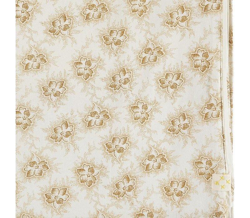 F/Sheet Spot Floral Ochre Small Cot W60cm x L120cm