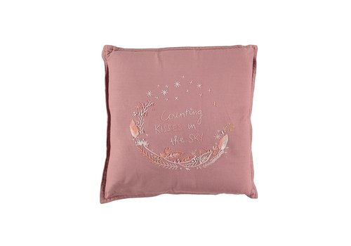 Camomile London S/Cushion Hand Embroidered Blush SQUARE W30cm x L30cm
