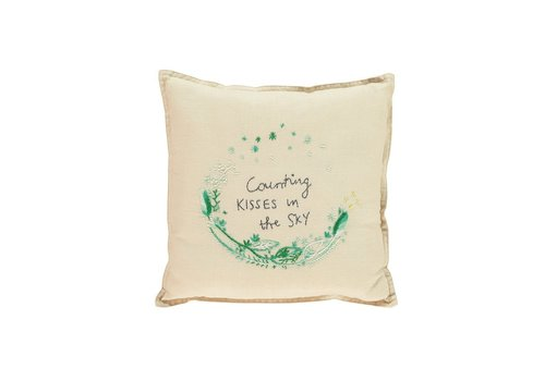 Camomile London S/Cushion Hand Embroidered Cream/Mint V/Cream SQUARE W30cm x L30cm