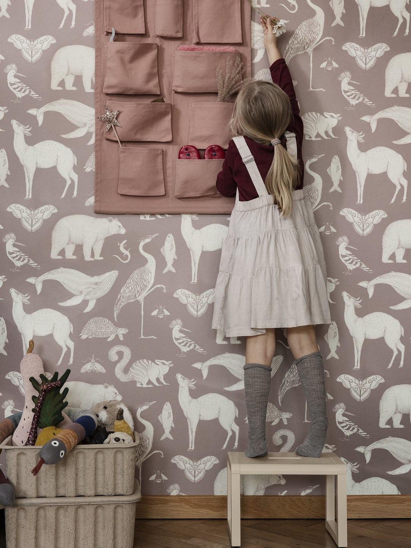 Ferm Living Katie Scott Wallpaper Animals Dusty Rose