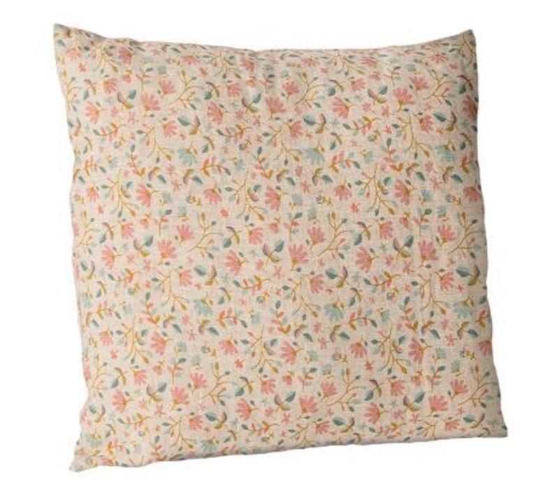 Cushion w. flowers, 40x40 cm. - Rose