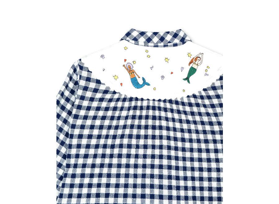 Check Shirt With  Mermaids Embro Deep Midnight