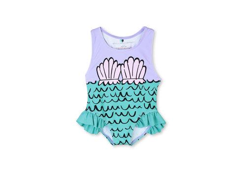 Stella McCartney Kids Swimcostume With Mermaid Shells P Violet/ Beige