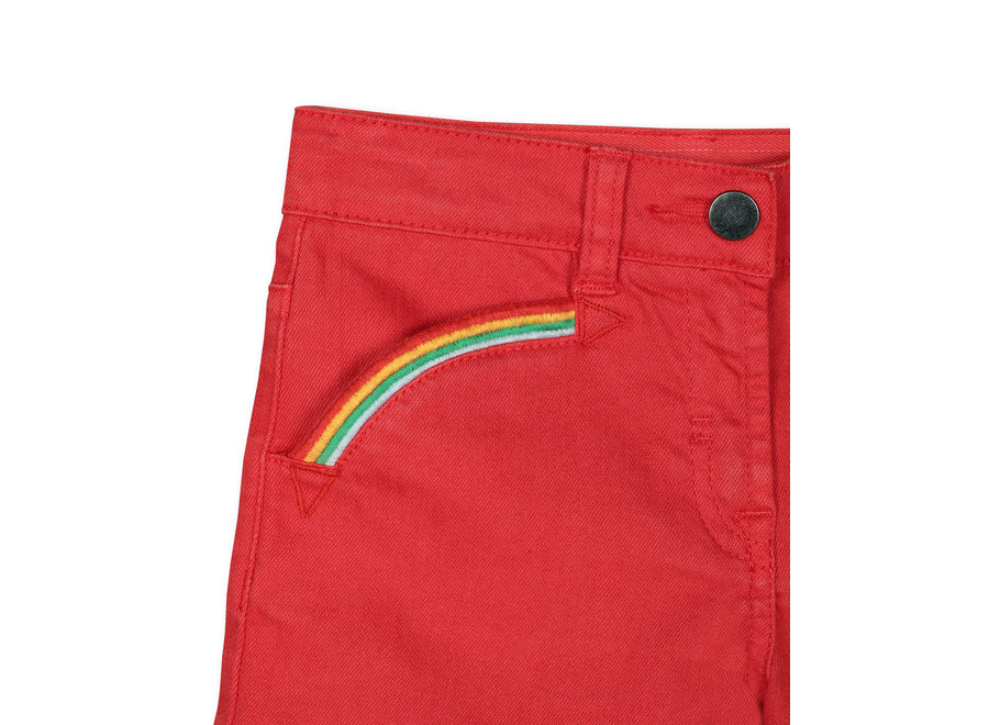 Denim Shorts With  Rainbow Embro Apple Red