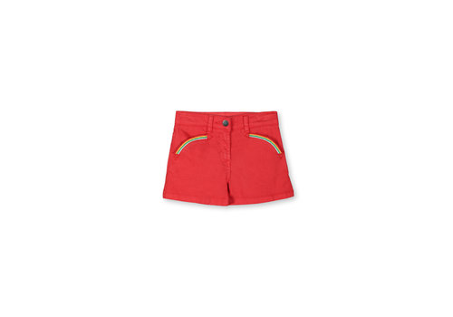Stella McCartney Kids Denim Shorts With  Rainbow Embro Apple Red