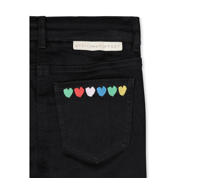 Skinny Denim Trs With  Hearts Emb Deep Black