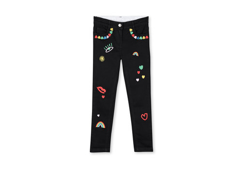 Stella McCartney Kids Skinny Denim Trs With  Hearts Emb Deep Black